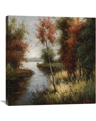 """Global Gallery 'River Bank's First Ray' by Cheirns Painting Print on Wrapped Canvas GCS-132518 Size: 30"""" H x 30"""" W x 1.5"""" D"""