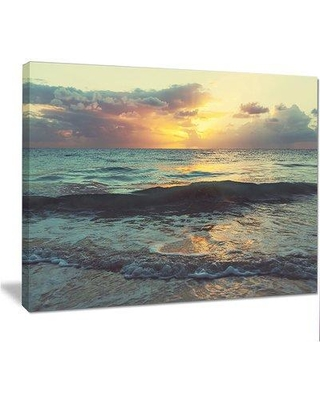"""Design Art 'Colorful Bluish Waters at Sunset' Photographic Print on Wrapped Canvas, Canvas & Fabric in Brown/Yellow/Blue, Size 30"""" H x 40"""" W Wayfair"""