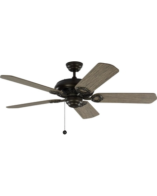 Monte Carlo York 52 in. Aged Pewter Ceiling Fan with Light Grey Weathered Oak Blades with Pull Chain
