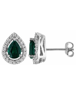 Stella Grace Lab-Created Emerald and Lab-Created White Sapphire Sterling Silver Teardrop Halo Stud Earrings, Women's, Green