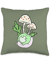 Cottagecore Aesthetic Lover Gift Store Kawaii Cottagecore Frog Sleeping Under Toadstool Mushroom Throw Pillow, 16x16, Multicolor