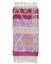 """One of a Kind Hand-Knotted Shag 3' x 5' Geometric Wool Pink Rug - 2'8""""x5'2"""" (Pink - 2'8""""x5'2"""")"""