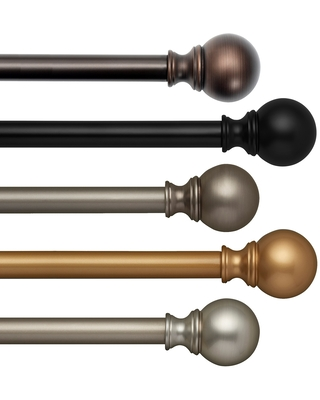 "Elrene Cordelia Adjustable Window Curtain Rod and Ball Shaped Finial (28"" to 48"" - Soft Gold)"