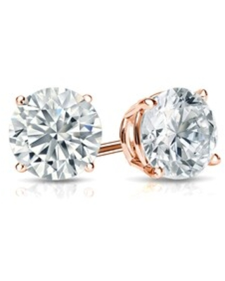 14k Gold 3/4ctw Round Lab Grown Diamond Stud Earrings by Ethical Sparkle (Rose)