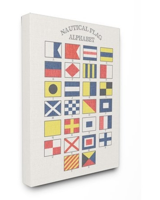 The Stupell Home Decor Collection Nautical Flag Alphabet Stretched Canvas Wall Art, 16 x 1.5 x 20