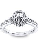 Scott Kay Ring Setting 3/8 ct tw Diamonds 14K White Gold