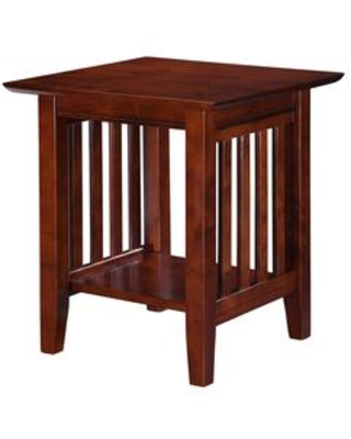 AH14204 Mission End Table With Apron Molding Detail Tapered Legs and Bottom Shelf in Antique