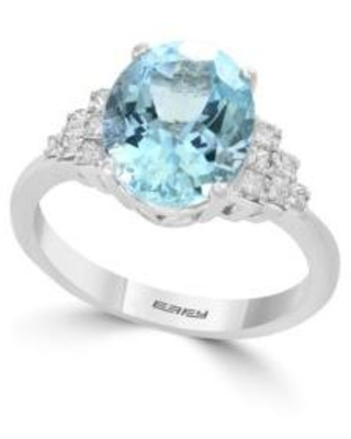 Effy White Gold 1/3 ct. t.w. Diamond Aquamarine Ring in 14k White Gold
