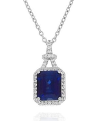 Belk & Co. Sapphire Created Sapphire and Created White Sapphire Pendant in Sterling Silver
