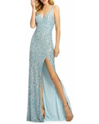Sequined Fishtail Gown - Blue - Mac Duggal Dresses