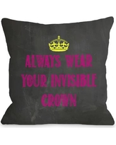 """One Bella Casa Invisible Crown Chalkboard Throw Pillow HMW4142 Color: Pink Size: 20"""" H x 20"""" W"""