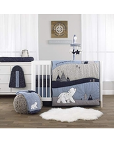 NoJo Cosmo Bear Navy Light Blue White /& Grey 100/% Cotton Photo Op Fitted Crib Sheet
