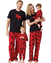 Little Blue House by Hatley Womens Moose Family Pajamas, Women's Jersey Pajama Pants - Moose On Red, X-Small
