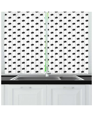 Animal Print Repetitive Pattern with Monochrome Dog Breed Heads Side View Print Kitchen Curtain East Urban Home