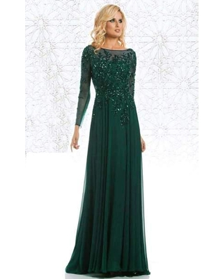 Feriani Couture - 26145 Dazzling Long Sleeve Evening Gown
