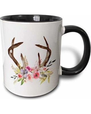 Symple Stuff Shefford Watercolor and Floral Antlers Coffee Mug W001217645 Color: Black