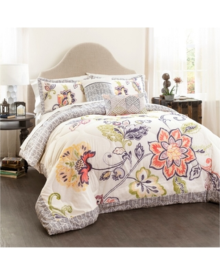 Aster Quilted Comforter Set (King) Coral&Navy 5pc - Lush Décor , Blue