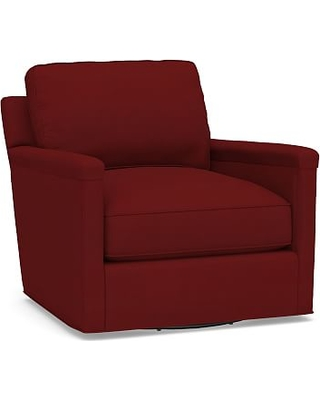 Tyler Square Arm Upholstered Swivel Armchair without Nailheads, Down Blend Wrapped Cushions, Twill Sierra Red