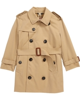 Toddler Girl's Burberry Mayfair Trench Coat, Size 3Y - Beige