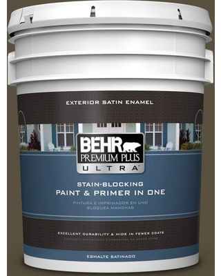 BEHR ULTRA 5 gal. #S-H-730 Eagle Rock Satin Enamel Exterior Paint and Primer in One