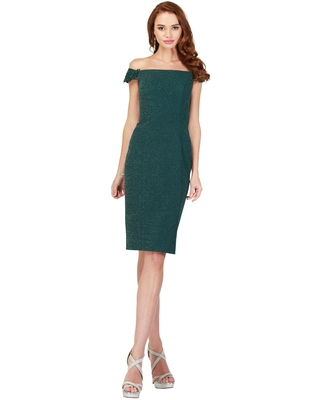 Cecilia Couture - 1815 Off-Shoulder Knee Length Fitted Dress