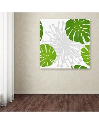 """Ebern Designs 'Rain Forest Pattern III Leaves' Graphic Art Print on Wrapped Canvas EBND8177 Size: 35"""" H x 35"""" W"""