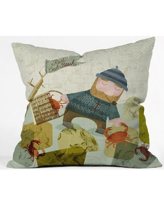"""East Urban Home Monday Crab Walk Polyester Throw Pillow EHME8892 Size: 26"""" H x 26"""" W x 7"""" D"""