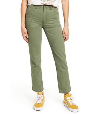 Women's Lee High Waist Dungaree Ankle Jeans, Size 32 - Green