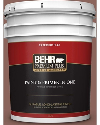 BEHR Premium Plus 5 gal. #bxc-52 Natural Copper Flat Exterior Paint and Primer in One
