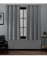 "Set of 2 84""x52"" Academy Total Blackout Grommet Top Curtain Panel Silver - Exclusive Home"