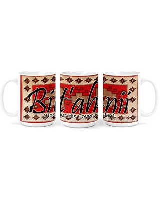 Bit'ahnii (Under His Cover) Navajo Clan with Red Rug Background on 15 Ounce White Coffee Mug