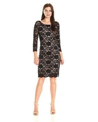 Tiana B Women's 3/4 Sleeve Floral Scaloped Lace Shift, Black/Nude, 8