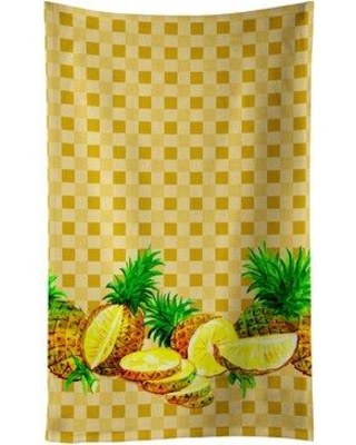August Grove Pineapples on Basketweave Dishcloth AGGR6609