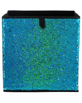 Neu Home Reversible Sequin Storage Cube In Blue/Silver