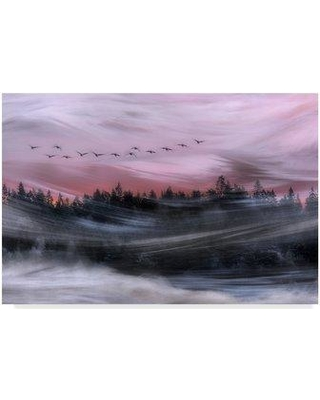 "Trademark Art 'Leaving at Dawn' Photographic Print on Wrapped Canvas 1X07237-C Size: 16"" H x 24"" W x 2"" D"