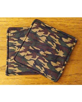 """Potholders, Hot Pads, Set of 2 Green Brown and Tan Camouflage Design Fabric 7 1/2"""" Square Pot Holders, Kitchen Decor"""