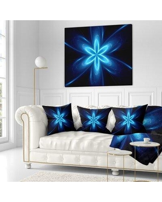 """East Urban Home Flower Glowing Space Fractal Pillow VCBN9534 Size: 18"""" x 18"""" Product Type: Throw Pillow"""