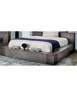 """Janeiro Collection CM7628GY-CK-BED 101"""" California King Bed with Slat Kit Included and Wood Frame Construction in"""