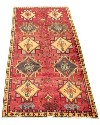 "One-of-a-Kind Bindera Hand-Knotted 1980s Anatolian Beige/Red 4'11"" x 9'8"" Wool Area Rug Isabelline"
