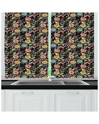 Botanical Vintage Design Summer Flourishes Petals Buds Spring Meadow Kitchen Curtain East Urban Home
