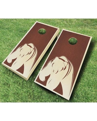 AJJCornhole Bear 10 Piece Cornhole Set 109 - Bear Stained Ebony - red Bean Bag Color: Red/Royal Blue Board Finish: Rosewood