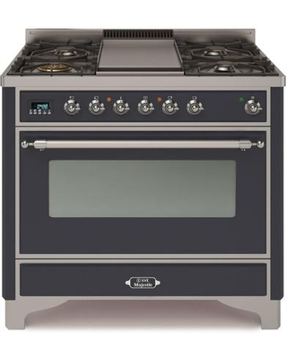 """UM09FDNS3MGC 36"""" Majestic II Series Dual Fuel Natural Gas Range with 6 Burners and Griddle 3.5 cu. ft. Oven Capacity TFT Oven Control Display"""