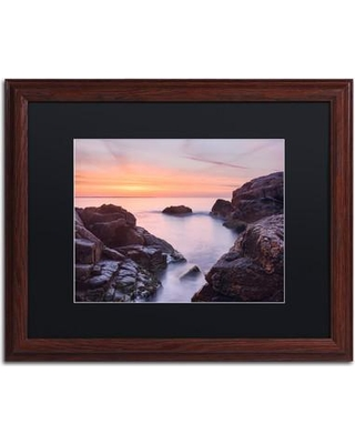 "Trademark Art 'Between Rocks' Framed Photographic Print on Canvas ALI3863-W1 Matte Color: Black Size: 16"" H x 20"" W x 0.5"" D"