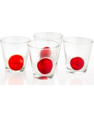 Abigails Dot 8 oz. Drinking Glass 726014 Color: Clear/Red