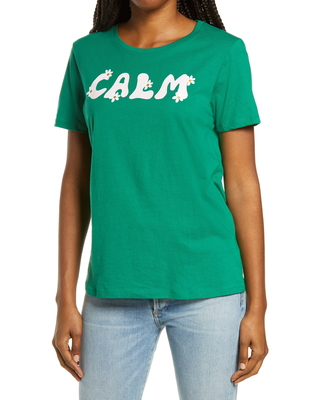 Women's Ban. do Calm Classic Graphic Tee, Size Large - Green