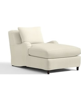 Carlisle Slipcovered Chaise, Polyester Wrapped Cushions, Premium Performance Basketweave Ivory