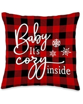 Wild Honey Collections Baby It's Cold Inside Buffalo Plaid Christmas Winter Throw Pillow, 16x16, Multicolor