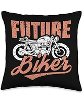 Fathers-Day Pillows Dad Daddy Papa Men Gifts Future Biker Classic Motorcycle Cool Motorbike Riding Rider Throw Pillow, 16x16, Multicolor