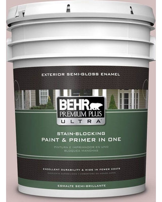 BEHR Premium Plus Ultra 5 gal. #710A-3 Sweet Breeze Semi-Gloss Enamel Exterior Paint and Primer in One