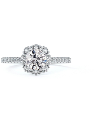 Women's Forevermark Center Of My Universe Floral Halo Engagement Ring With Diamond Band